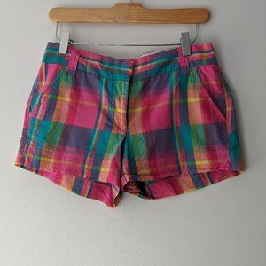 J. Crew Factory Cotton Plaid Shorts Pink Size 0